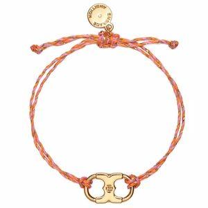 TORY BURCH • Embrace Ambition Braided Tory Gold Pink Slider Bracelet